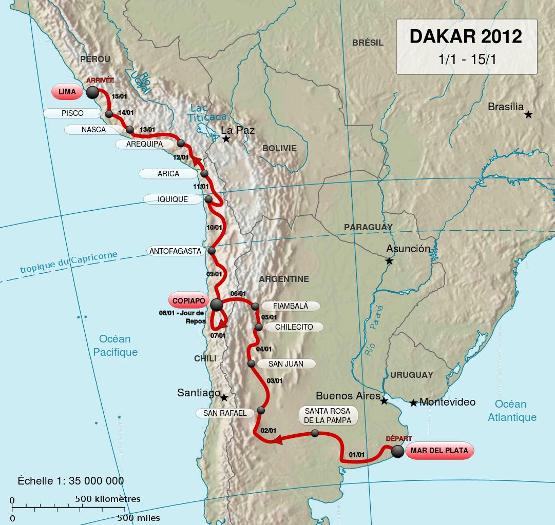 Dakar Rally 2012 map. (Bild: Moyogo / wikimedia.org)