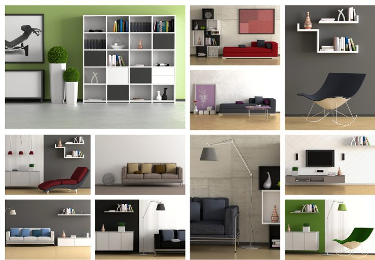 Aktuelle Designermöbel kombiniert mit einem Ledersofa. (Bild: © fischer-cg.de - fotolia.com)