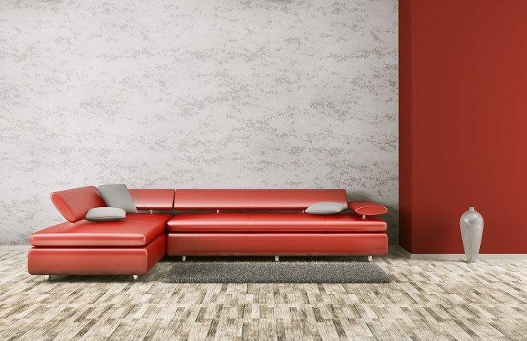 extravaganz in ihrem wohnzimmer durch ein rotes ledersofa