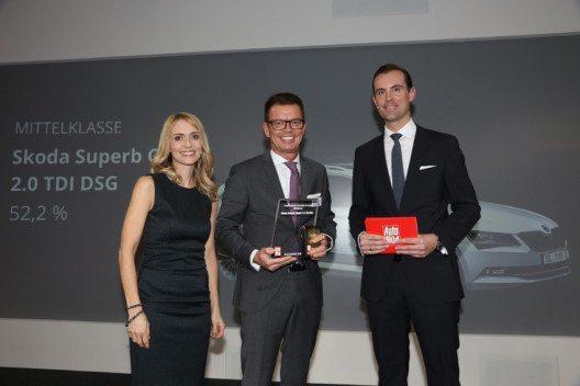 """Der neue Superb Combi wurde zum """"Wertmeister 2016"""" gekürt. Stefan N. Quary (Mitte), Vertriebschef Skoda AUTO Deutschland, nahm die Auszeichnung entgegen. (Bild: Skoda Auto)"""