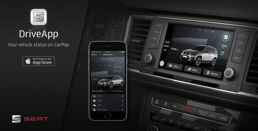 Mit der DriveApp können Kunden auf sämtliche Fahrzeugdaten zugreifen, um ihr Fahrerlebnis noch individueller zu gestalten. So können neben Hinweisen auf bevorstehende Wartungstermine oder dem Reifendruck auch besondere Angebote von umliegenden SEAT Partnern angezeigt werden. Die App wird in den nächsten Wochen mit zusätzlichen Features und Services weiter verbessert. (Bild: © SEAT)