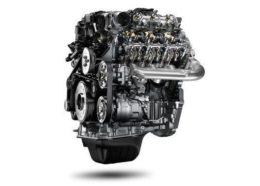 V6 mit einem Gabelwinkel von 90 Grad: Der 3,0l TDI für den aktualisierten Amarok erreicht bis zu 550 Newtonmeter und 165 kW / 224 PS. Das sind nochmals 130 Nm Drehmoment mehr als beim Vorgänger-Modell; das Diesel-Aggregat erfüllt zudem die verschärfte Abgasnorm für EU6-Märkte. (Bild: © Volkswagen Nutzfahrzeuge)
