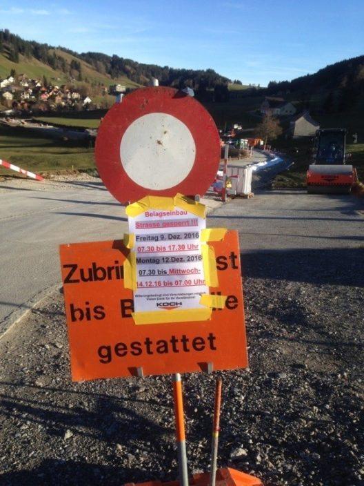 Nördlistrasse am 9. und vom 12. bis 14.Dezember gesperrt (Bild: © Gemeinde Gais)
