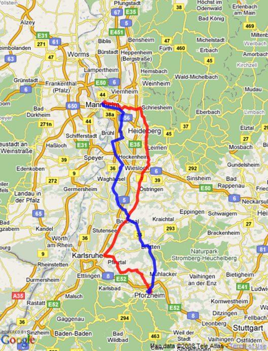 Bertha Benz Memorial Route (Bild: © Google Maps)