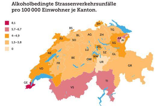 Alkoholbedingte Strassenverkehrsunfälle in der Schweiz (Grafik: obs/Touring Club Schweiz/Suisse/Svizzero – TCS)
