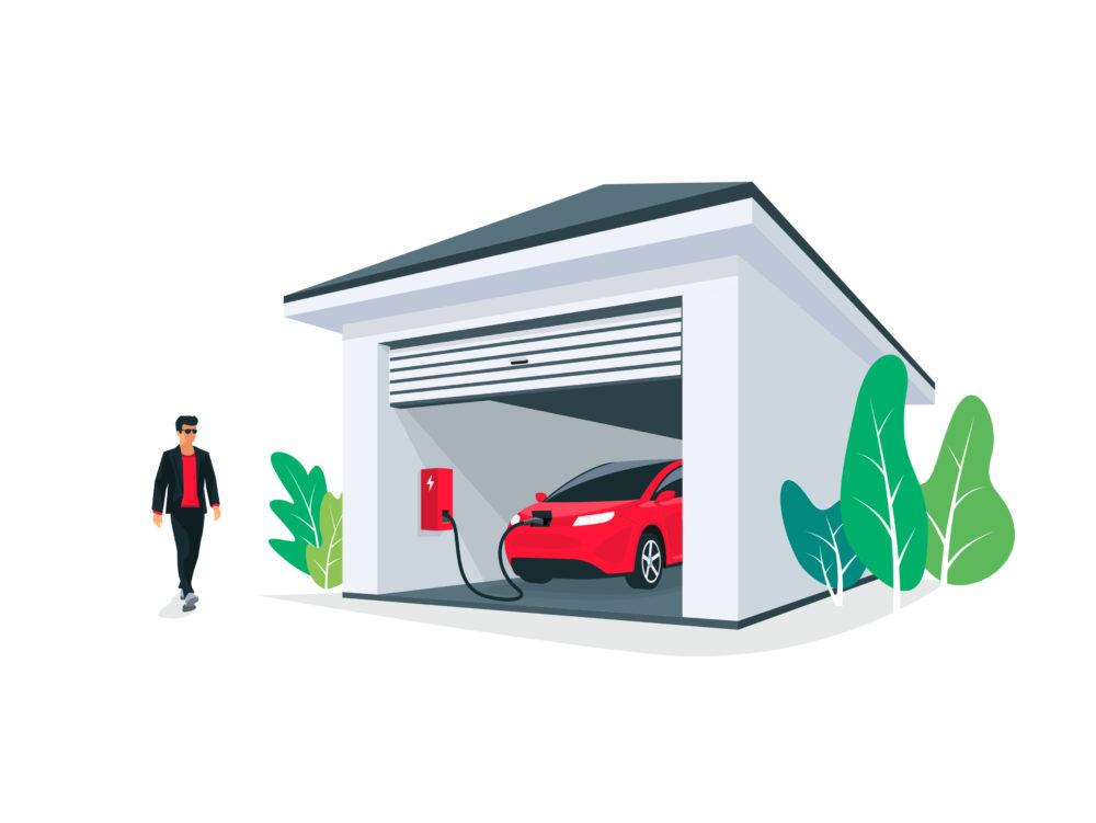 Wallbox in einer Garage
