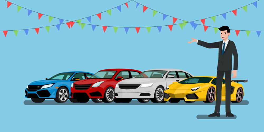 Ein glücklicher Geschäftsmann, Verkäufer steht und präsentiert seine Fahrzeuge und Supercar für den Verkauf oder Miete, die im Shop geparkt.