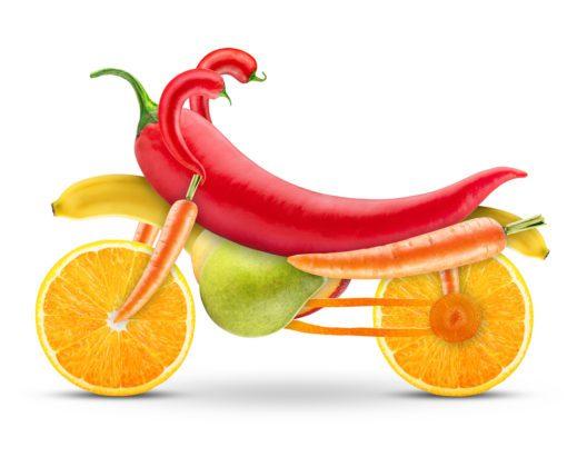 Motorrad aus Obst und Gemüse